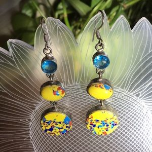Vintage yellow mineral 925 silver dangle earrings